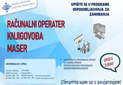 Pučko otvoreno učilište Koprivnica objavljuje zadnji poziv za upis u atraktivne programe osposobljavanja