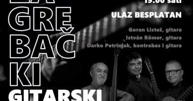22.3. Koncert: Zagrebački gitarski trio, Galerija Mijo Kovačić u 19:00 sati